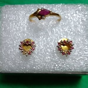 10k gold set of Ruby Ring and  Ruby earrings.